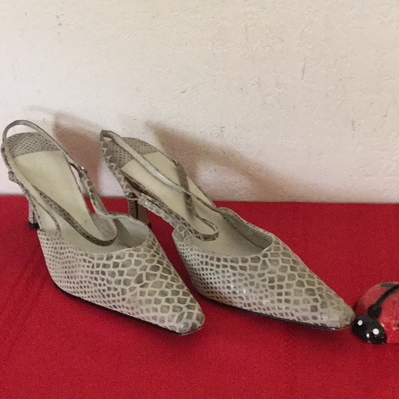 572ad643628d3 J Renee Luxe Gray Snake Leather Slingback Shoes